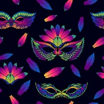 Patrón de vector transparente con coloridas plumas y máscaras