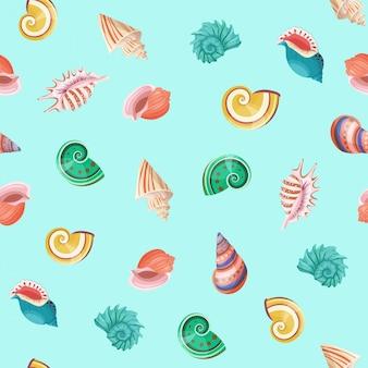 Patrón de vector transparente de conchas marinas.