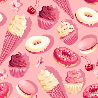 Patrón de vector transparente con dulces pastel de alto detalle sobre fondo rosa