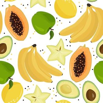 Patrón de vector transparente de frutas frescas