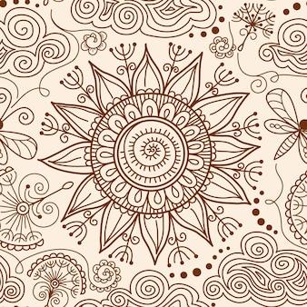 Patrón de vector transparente henna mehndi doodle