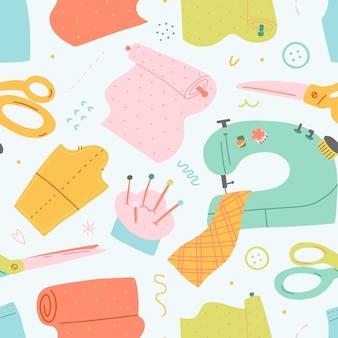 Patrón de vector transparente con ilustraciones de herramientas de costura