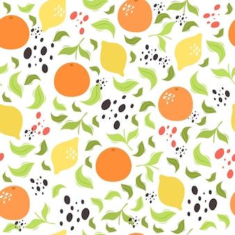 Patrón de vector transparente con limón y naranjas