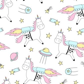 Patrón de vector transparente con lindos unicornios y estrellas