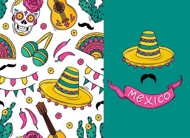 Patrón de vector transparente mexicano con calaveras de azúcar, flores, guitarra, cactus, bigote sobre fondo blanco. un patrón para unas vacaciones. postal viva mexico.