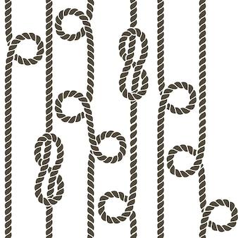 Patrón de vector transparente nudo y cuerda náutica