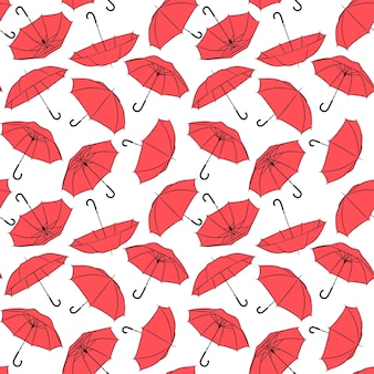 Patrón de vector transparente de paraguas rojos