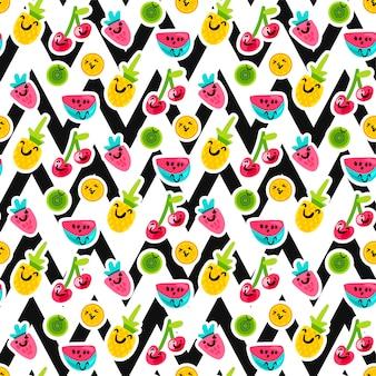 Patrón de vector transparente de personajes de fruta