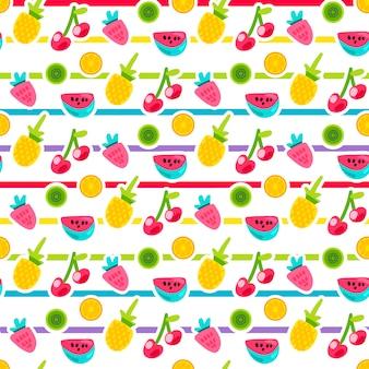 Patrón de vector transparente rayas frutas de dibujos animados