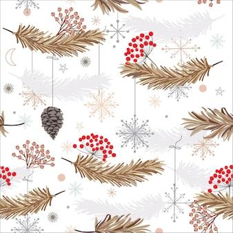 Patrón de vector transparente de vacaciones con hojas, flores y copos de nieve