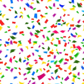 Patrón de vector transparente vibrante de confeti de papel que cae en los colores del arco iris o espectro en una fiesta festiva o concepto de vacaciones como una boda de navidad de año nuevo o un cumpleaños