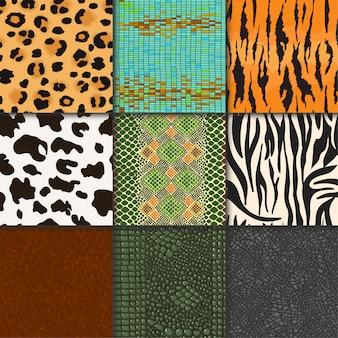 Patrón de vectores de pieles de animales telón de fondo con textura flaca animalística perfecta de piel salvaje ilustración de piel natural conjunto de espacio de vida silvestre