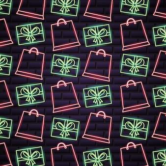 Patrón de venta de compras de viernes negro en luces de neón