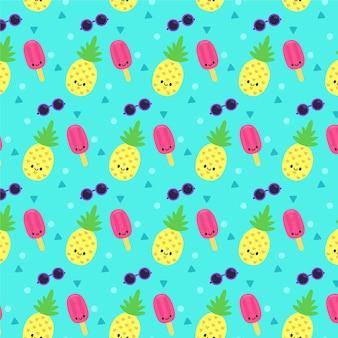 Patrón de verano amarillo con helado y piña