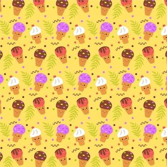 Patrón de verano amarillo con helado