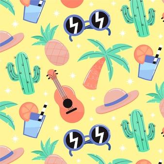 Patrón de verano con cactus y guitarra.