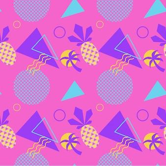 Patrón de verano de color transparente con piña y palma