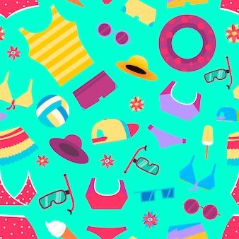 Patrón de verano sin fisuras con objetos de playa y accesorios