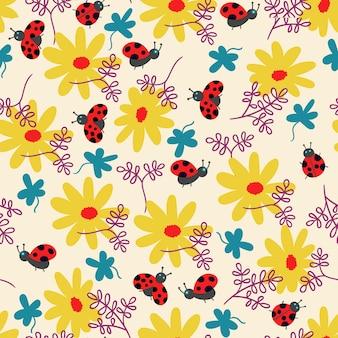 Patrón de verano flores mariquita