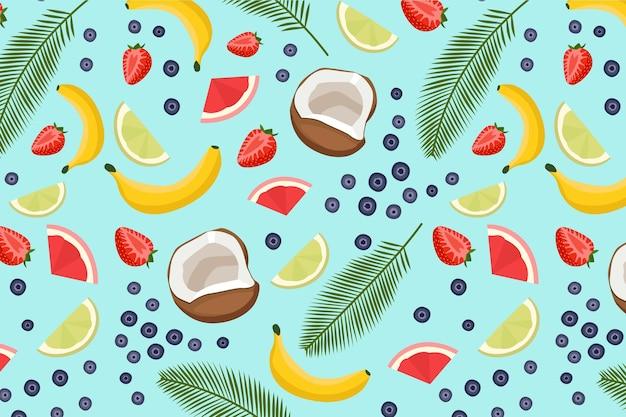 Patrón de verano con frutas y hojas.