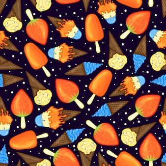 Patrón de verano con helado. estilo de dibujos animados ilustración.