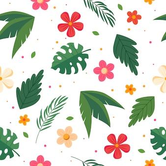 Patrón de verano con hojas y flores. ilustración de vector de estilo plano