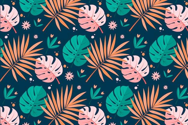 Patrón de verano con hojas tropicales