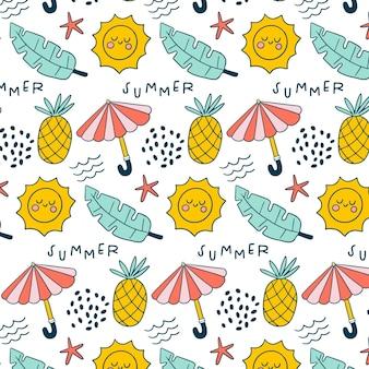 Patrón de verano con piñas y sombrillas.