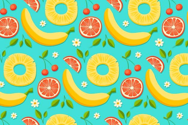 Patrón de verano con plátanos y pomelo