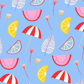Patrón de verano con sandía y sombrillas.
