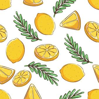 Patrón de verano tropical de patrones sin fisuras con fruta de limón y rodaja de limón