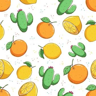 Patrón de verano tropical de patrones sin fisuras con fruta naranja limón y cactus