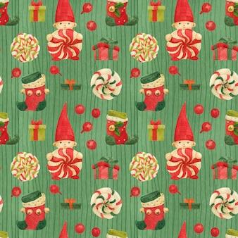 Patrón verde de fábrica de elfos navideños con medias y piruletas