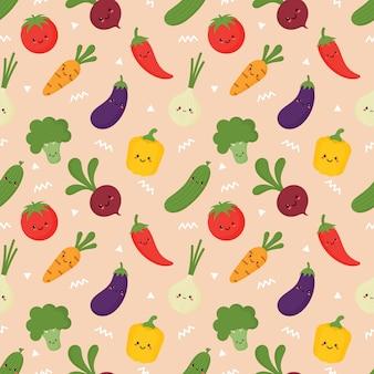 Patrón de verduras sin costuras en estilo kawaii