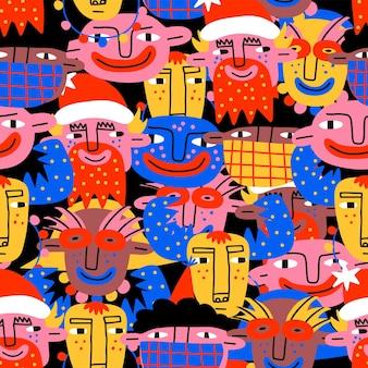 Patrón vibrante psicodélico de cara navideña