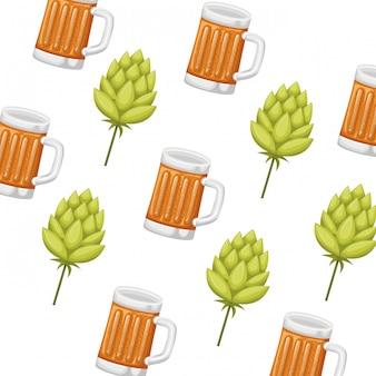 Patrón de vidrio con icono aislado de cerveza