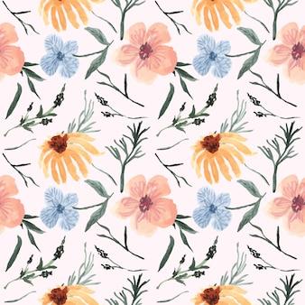 Patrón vintage bastante floral con acuarela
