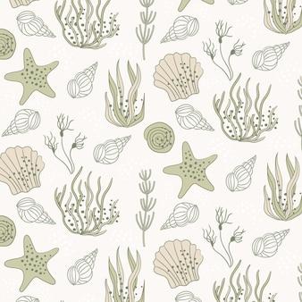 Patrón vintage de conchas y estrellas de mar