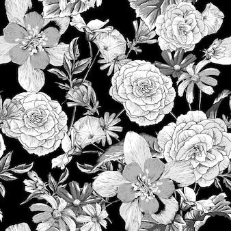 Patrón vintage con flores florecientes