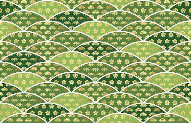 Patrón vintage japonés vector transparente