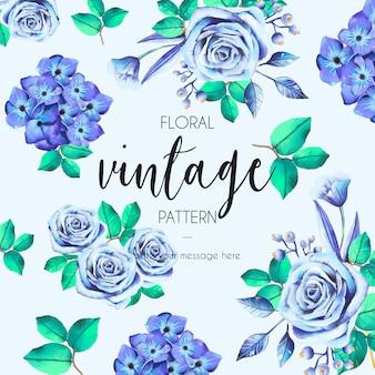 Patrón vintage con rosas azules