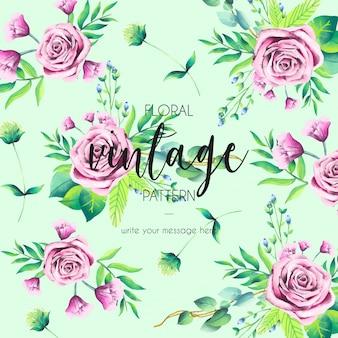 Patrón vintage con rosas rosadas