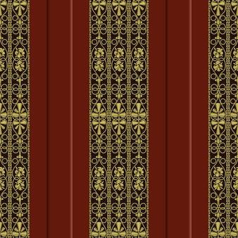 Patrón vintage tradicional, bordado de oro: rosa, hojas, remolinos sobre un fondo rojo