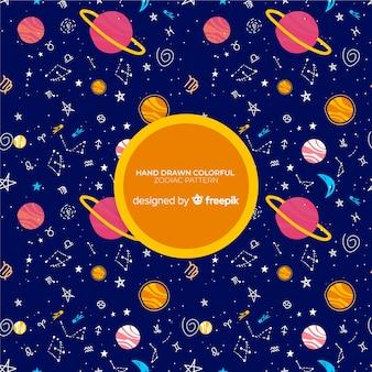 Patrón de zodiaco colorido dibujado a mano