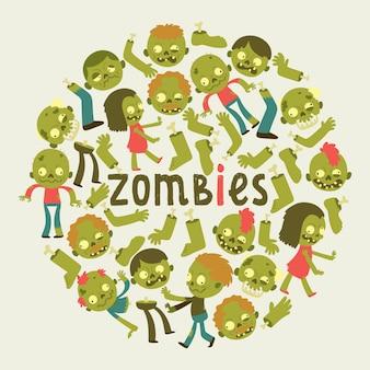 Patrón de zombie de dibujos animados halloween monstruo aterrador personaje ilustración telón de fondo