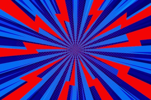 Patrón de zoom de semitono de estilo de dibujos animados cómic azul abstracto.