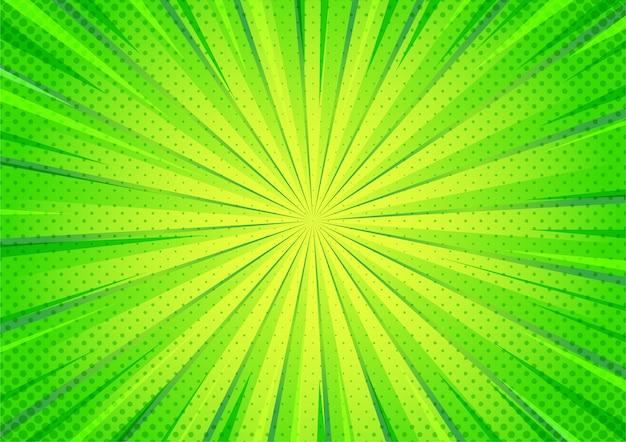 Patrón de zoom de semitono de estilo de dibujos animados cómic verde abstracto.
