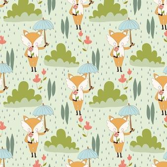 Patrón de zorro y flor en la lluvia.
