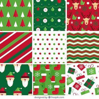Patrones abstractos y de elementos navideños