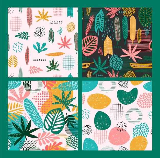 Patrones abstractos sin fisuras con hojas tropicales y formas geométricas.